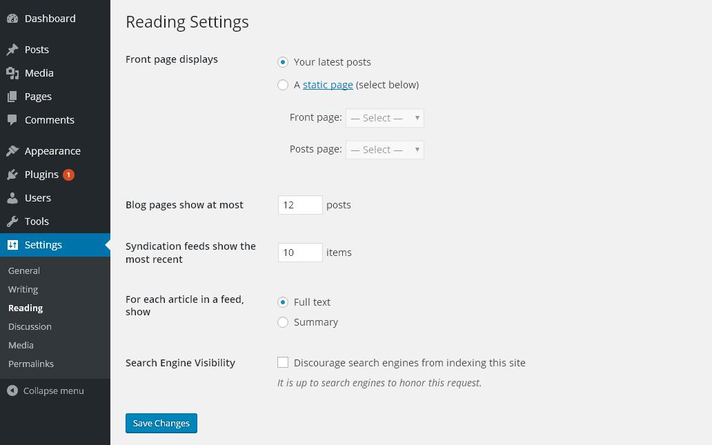 WordPress Feed Settings